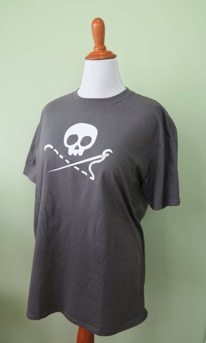 Image of Grey Sewing Skull Shirt - Crew or V Neck!