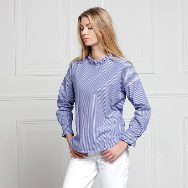 Blouse Claudia rayée bleue - Maison Brunet Paris