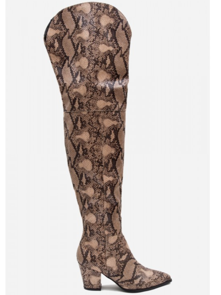 93718759eff ... Image of Snakeskin Thigh High Boots ...