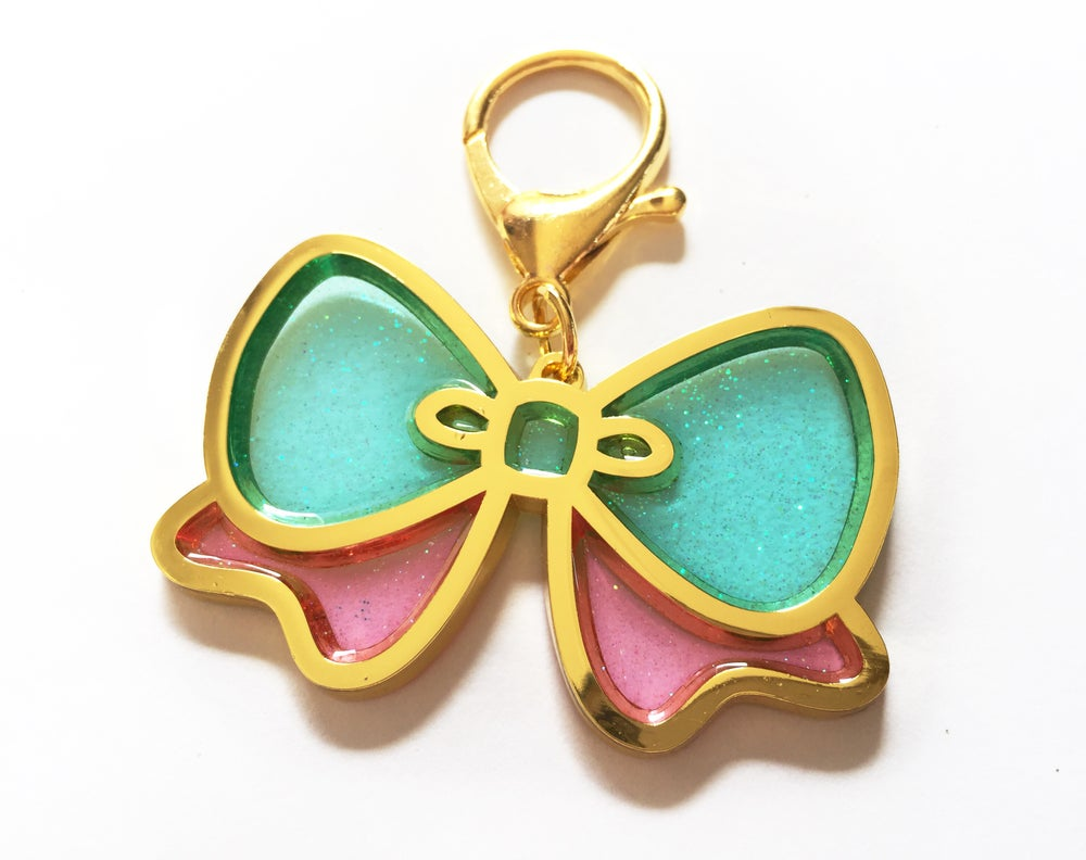 Image of Pretty Bow Bag Charm Pink & Aqua