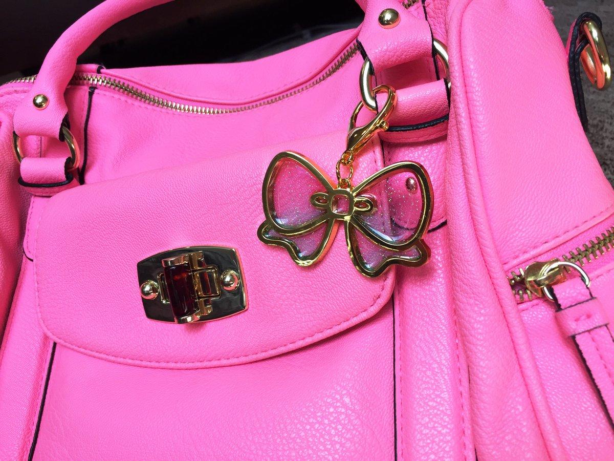 Image of Pretty Bow Bag Charm Pink & Aqua