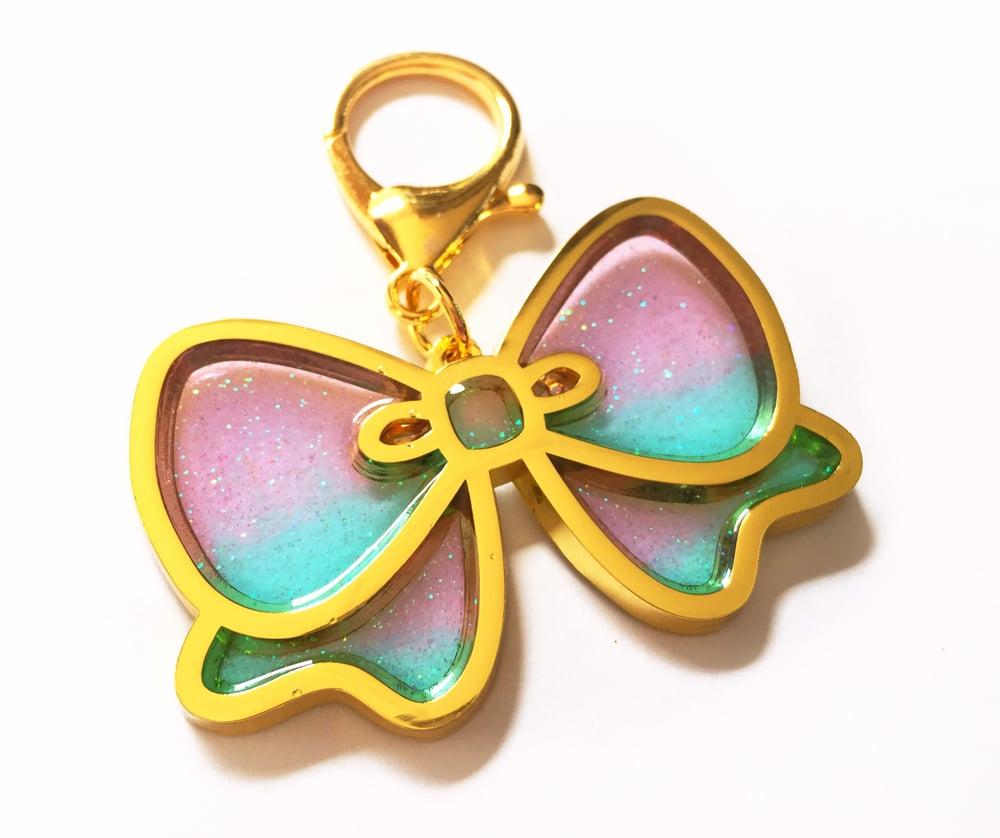 Image of Pretty Bow Bag Charm Lavender/Aqua