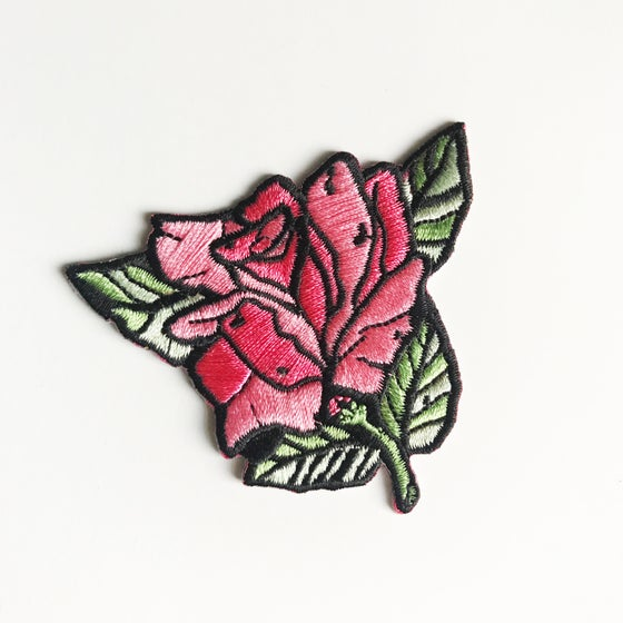 Image of Pink Rose Embroidered Patch