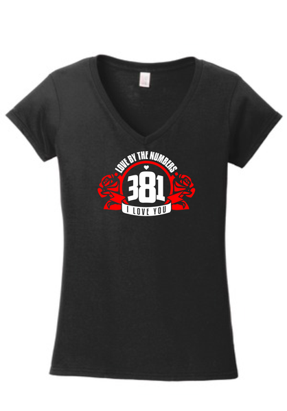 Image of 381 Rose logo Female l Black V-Neck Tee