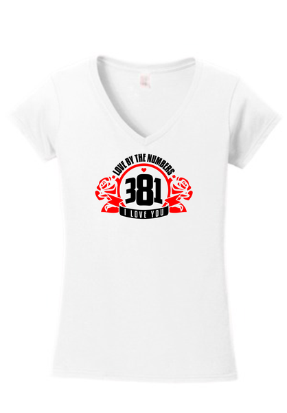 Image of  381 Rose logo Female l White V-Neck Tee
