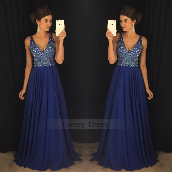 Image of Royal Blue Chiffon V Neck Beaded Bodice Crystal Long Prom Dress With Low Back