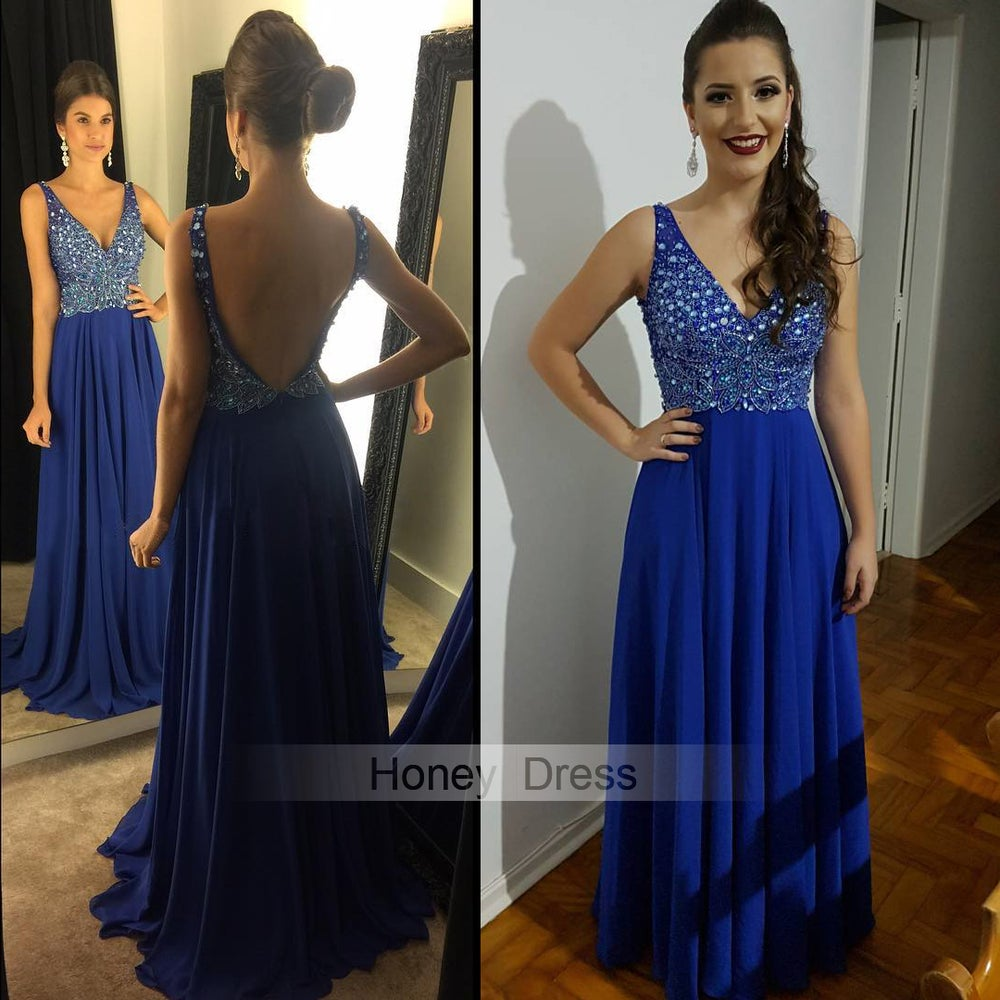 152644a8f5ca ... Image of Royal Blue Chiffon V Neck Beaded Bodice Crystal Long Prom Dress  With Low Back ...