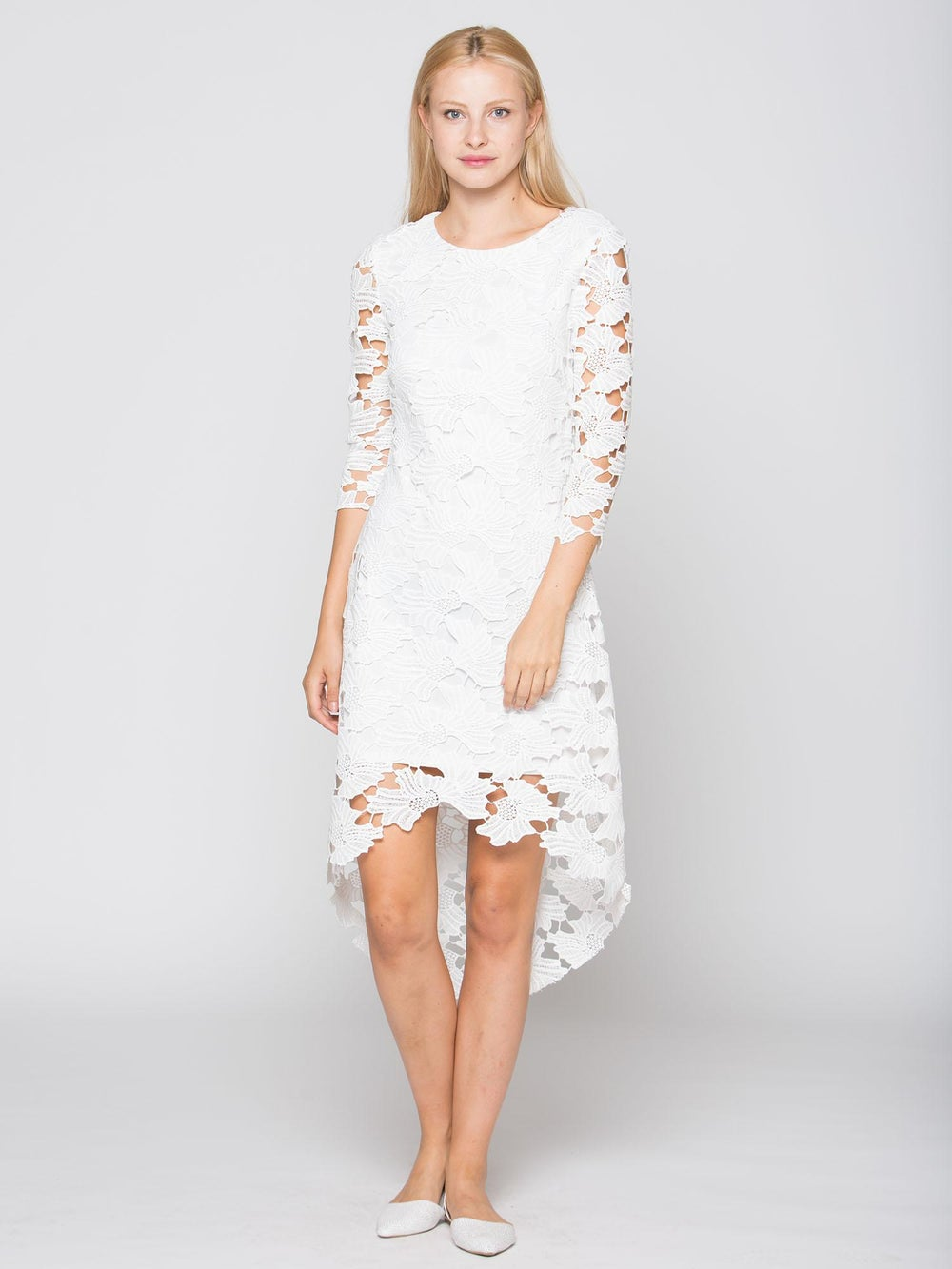 Image of White Flower Detail See Throughout Lined Dress