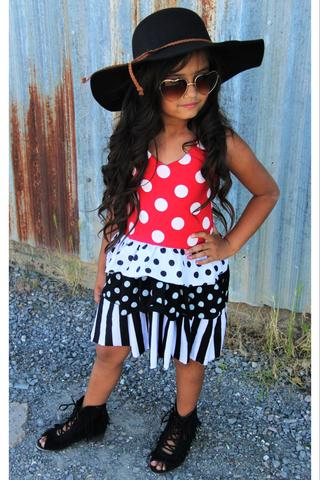 Image of Minnie inspired polka dot halter dress, baby, toddler, girl, summer, photos