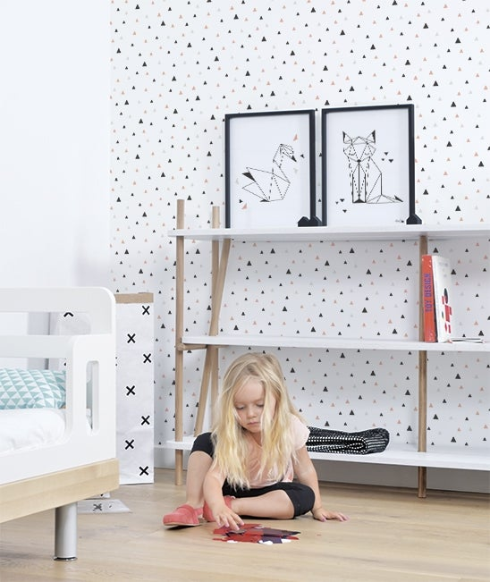 Image of Papel pintado geométrico niñas