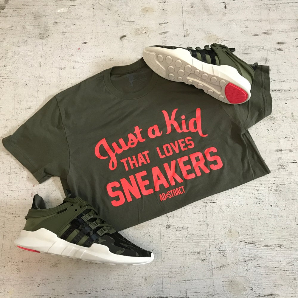 "JUST A KID THAT LOVES SNEAKERS ""BOLD ORANGE ( INFRARED ) /GREY OR OLIVE"" T-SHIRT OR HOODY"