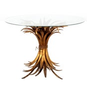Image of 1950s wheatsheaf glass and gilt cocktail table