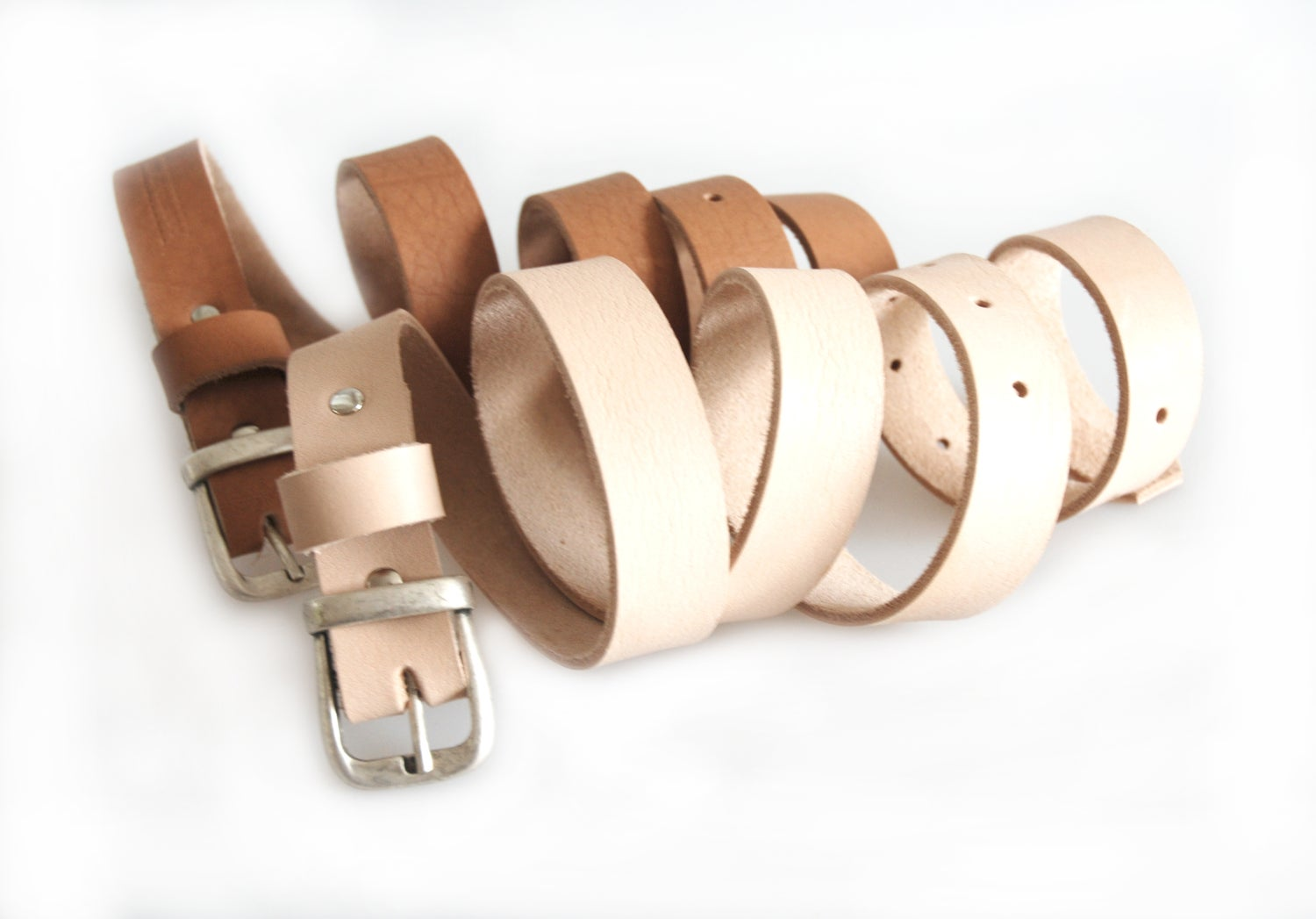Image of Vegtan Leather Belt with Vintage Style Buckle