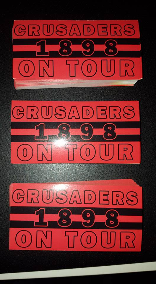 Crusaders On Tour 1898 10x5cm 25 pack of Football Stickers Brand New.