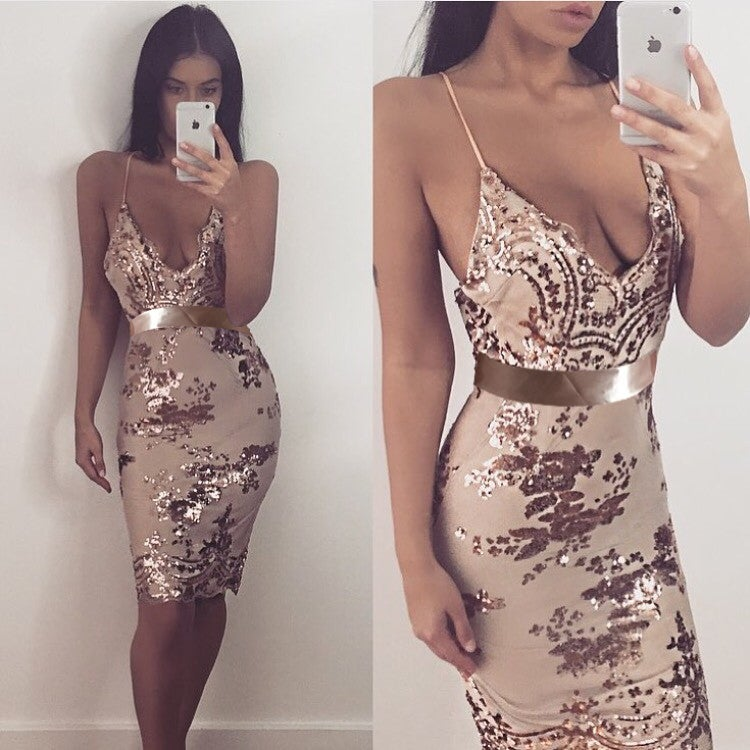9df61d6dc10 Image of Champagne Spaghetti Strap V-Neck Gold Sequin Short Prom Dress WIth  Open Back