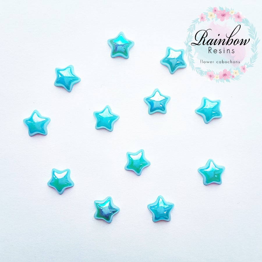 Image of Baby blue 12mm ab flatback stars x 12