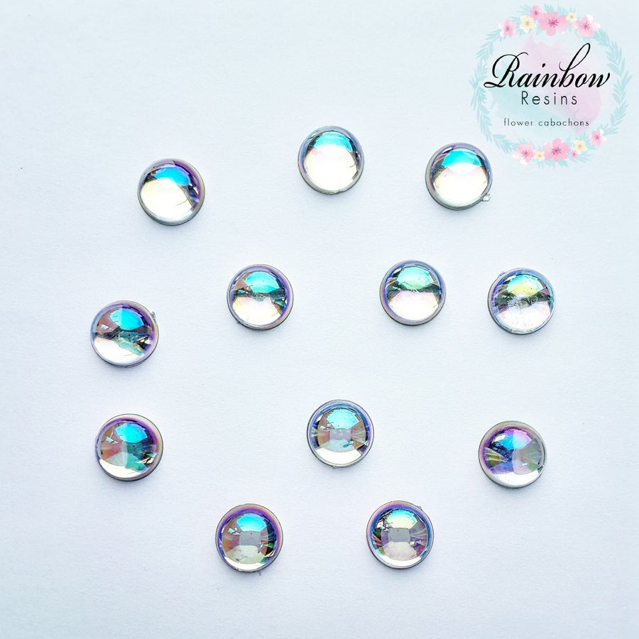 Image of Rainbow drops 12mm circle flatback x 12