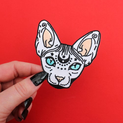 """Image of Mystical Sphynx Cat, Iron on Patch - 3"""" - Embroidered Cat Patch"""