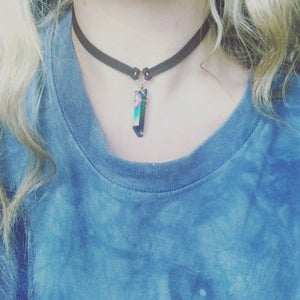 Image of Athena Choker - Rainbow Quartz Crystal + Vegan friendly Faux Suede