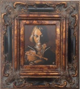 Image of JOAN OF ARC 8X10 ACRYLIC ON CANVAS PAINTING IN ANTIQUE FRAME