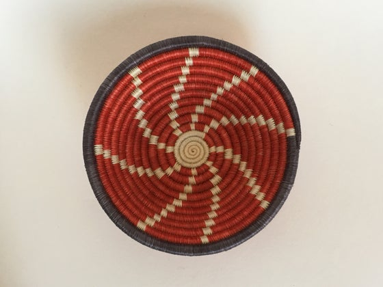 Image of Hand Woven African Basket | Red (Small)