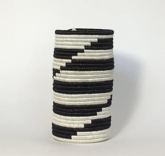 Image of Hand Woven African Vase | Black & White Zig Zag