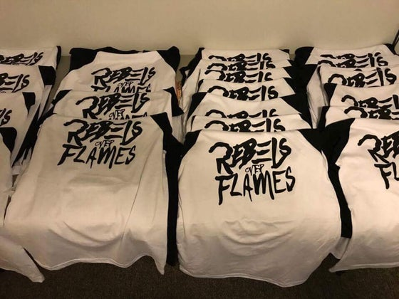 Image of Rebels Over Flames baseball tees