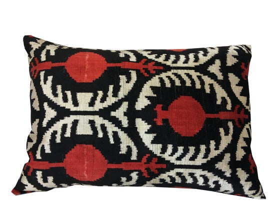 Image of Silk Velvet Ikat Pillow | Red Pattern