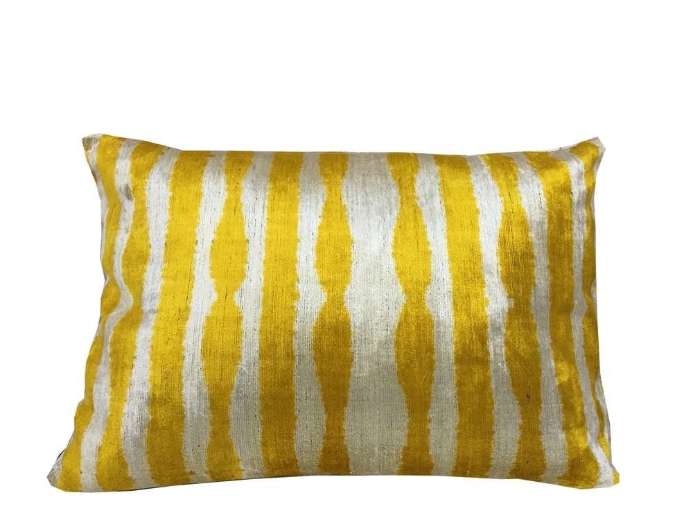 Image of Silk Velvet Ikat Pillow | Yellow Pattern