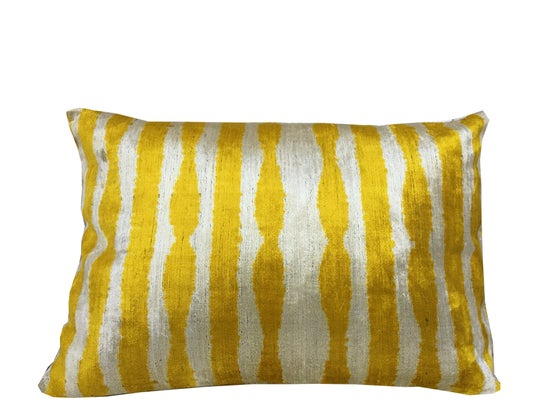 Image of Silk Velvet Ikat Pillow | Yellow Pattern