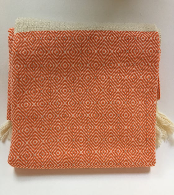 Image of Turkish Cotton Throw | Orange Diamond Pattern