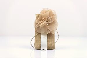 Image of Burlap pouch with burlap flower - bomboniere/wedding favours
