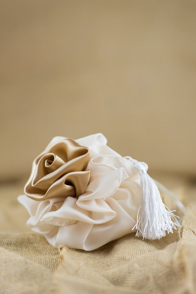 Image of Rosette pouch with tassel - bomboniere/wedding favours