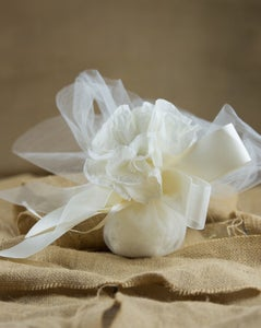 Image of Extra large tulle with flower and pearl - bomboniere/wedding favours