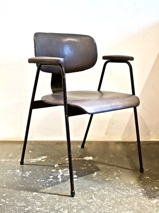Image of Grey Leather Desk Chair by Van Der Meeren