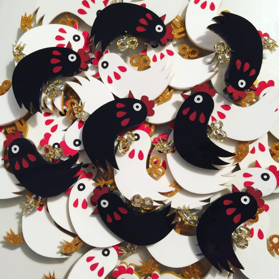 Image of Chicken-A-Go-Go Brooch (TWO COLOURS!)