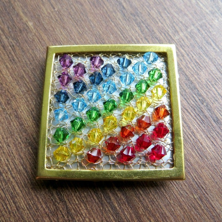 Image of DIAGONAL RAINBOW - Crystal Brooch Knitting Kit
