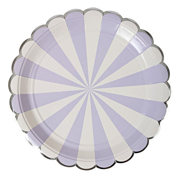Image of Lavender Striped Plate - Large