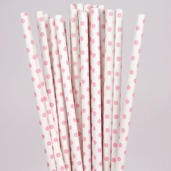 Image of Pink Polka Dot Straws