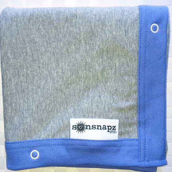"Image of Sunsnapz Baby Blanket ""GREY/ROYAL"