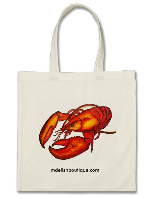Image of Reusable Tote for Groceries & Daily Use - Lobster