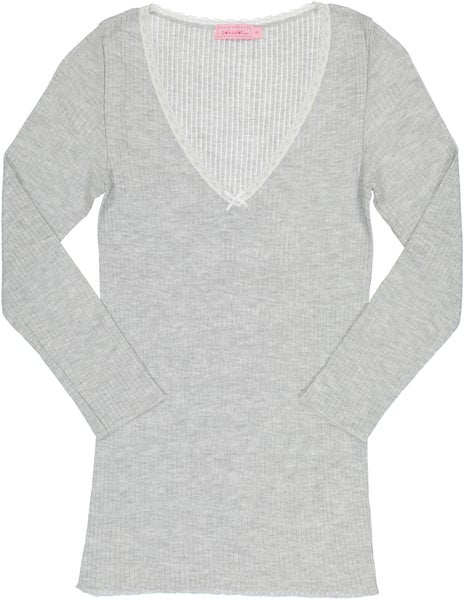 Image of V NECK RIB TOP~ Heather Grey