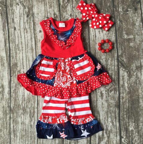 Image of 4th of July Red White Blue Fireworks Twirl Top Capri Set 2T-7