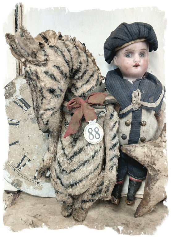 "Image of ""no. 88: an Old ToY 8"" Zebra in Sailor Collar  - By artist Whendi's Bears"