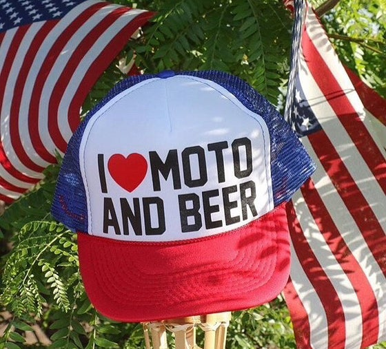 Image of I Love Moto and Beer Trucker Hat Red White and Blue
