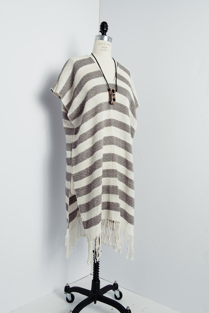 Image of Alpaca/Cotton Striped Poncho