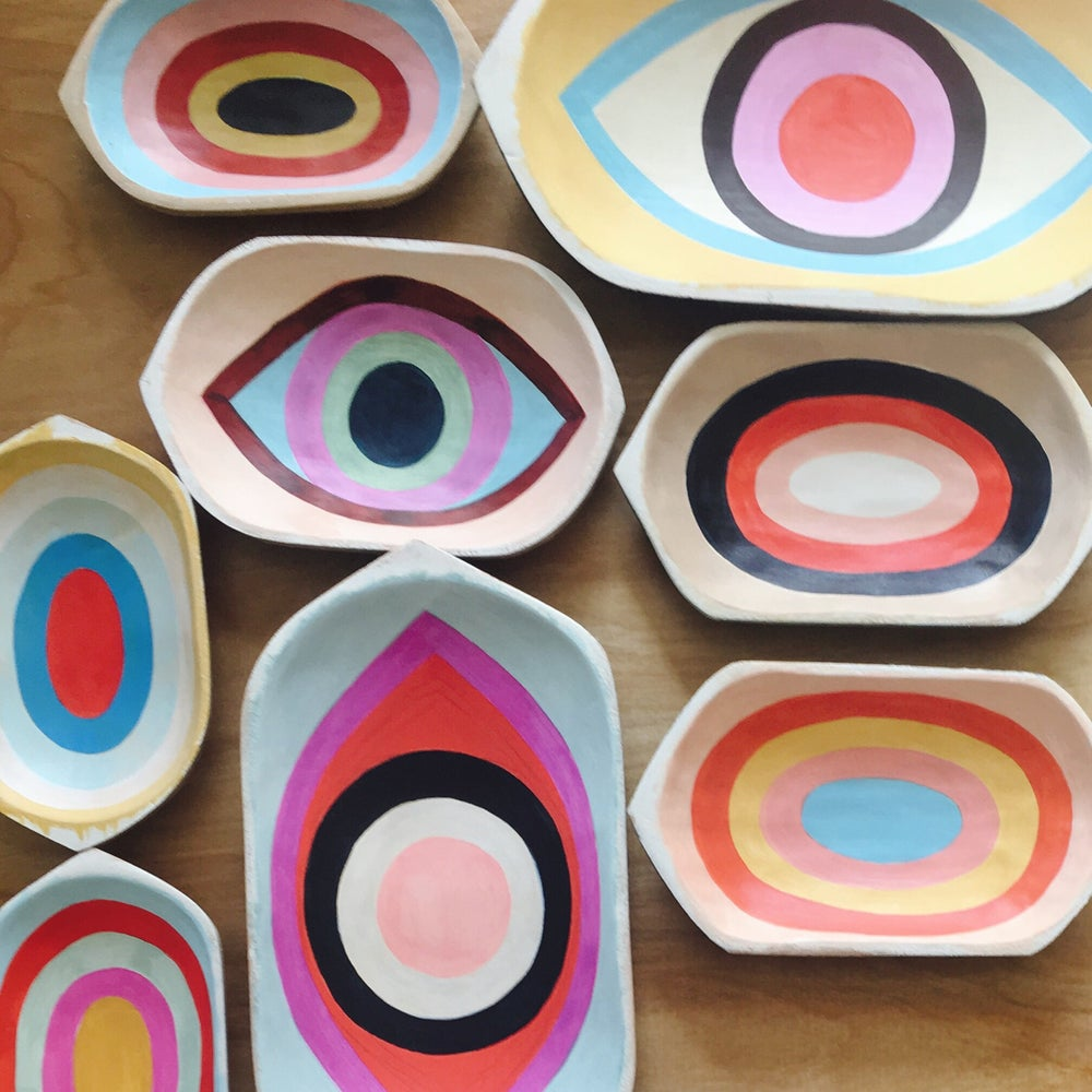 Image of Hand-painted Wooden Trays