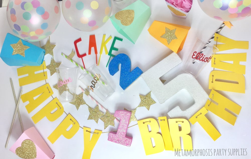 Image of Glittered table numbers and letters