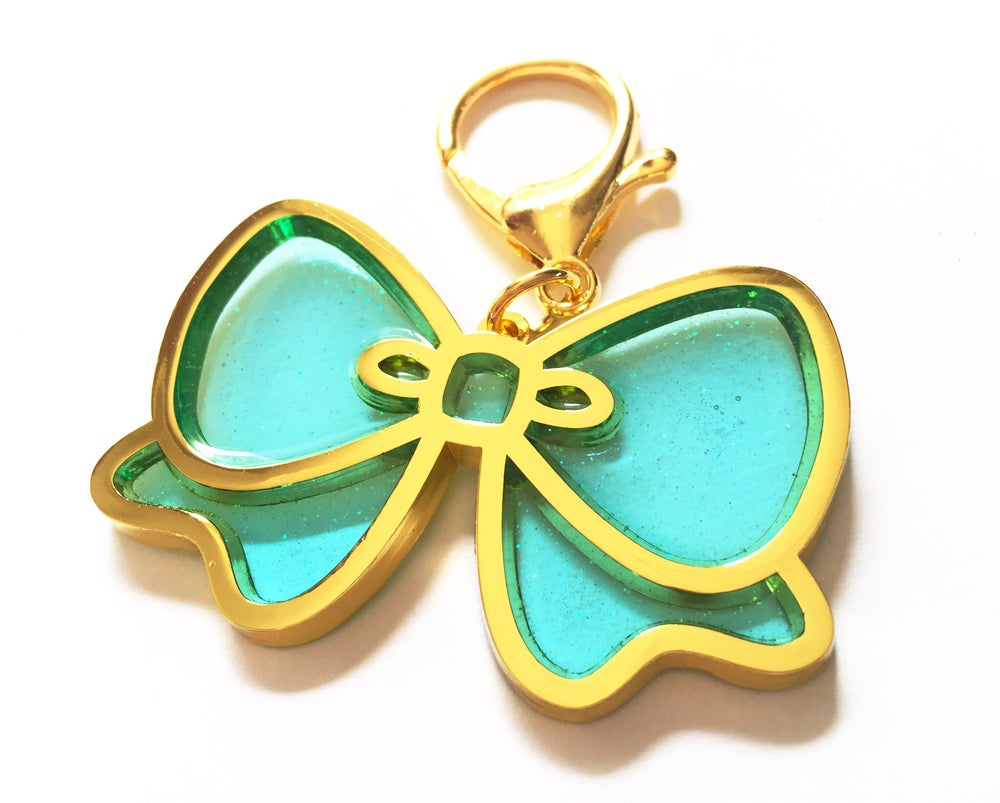 Image of Pretty Bow Bag Charm Aqua