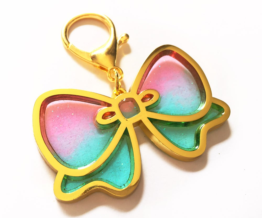 Image of Pretty Bow Bag Charm Pink/Lavender/Aqua